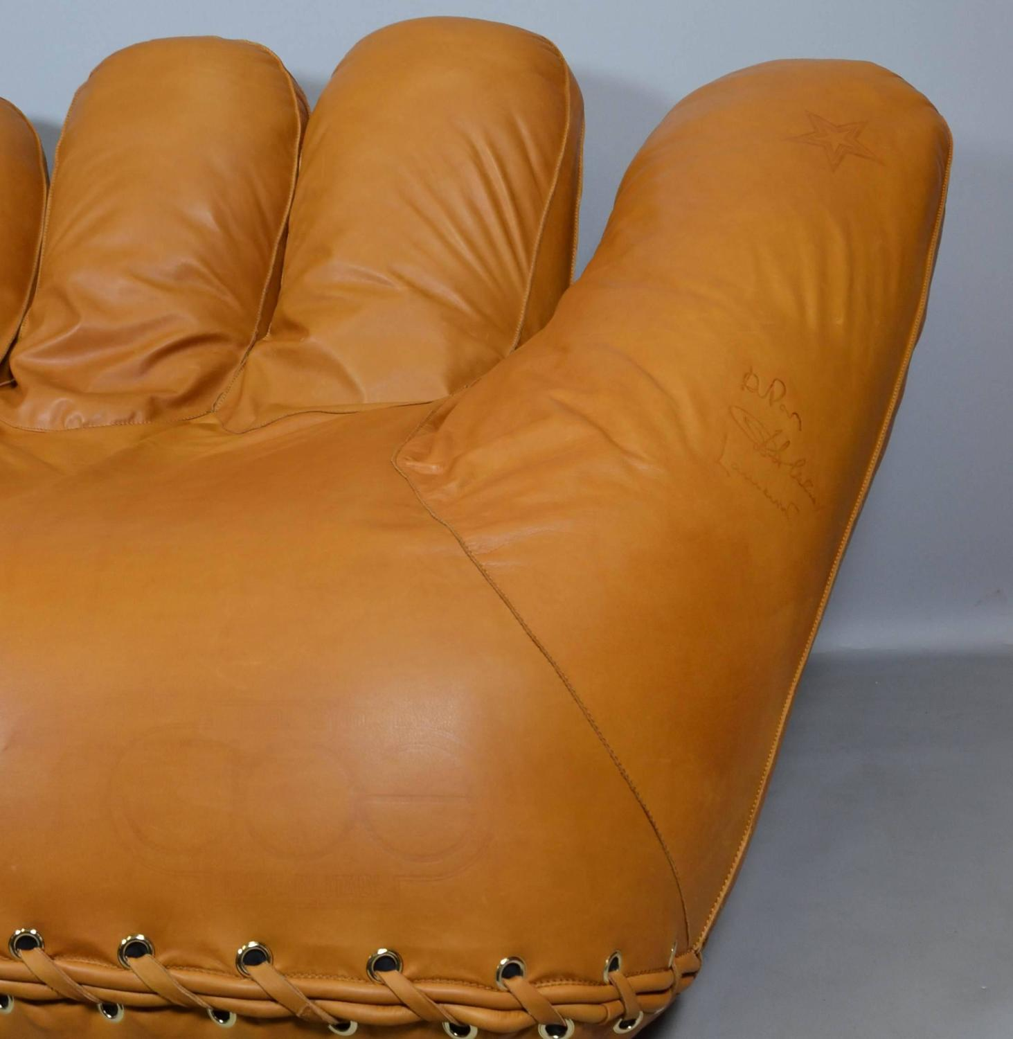 baseball glove chair home goods leather armchair covers joe lounge in anilin for sale