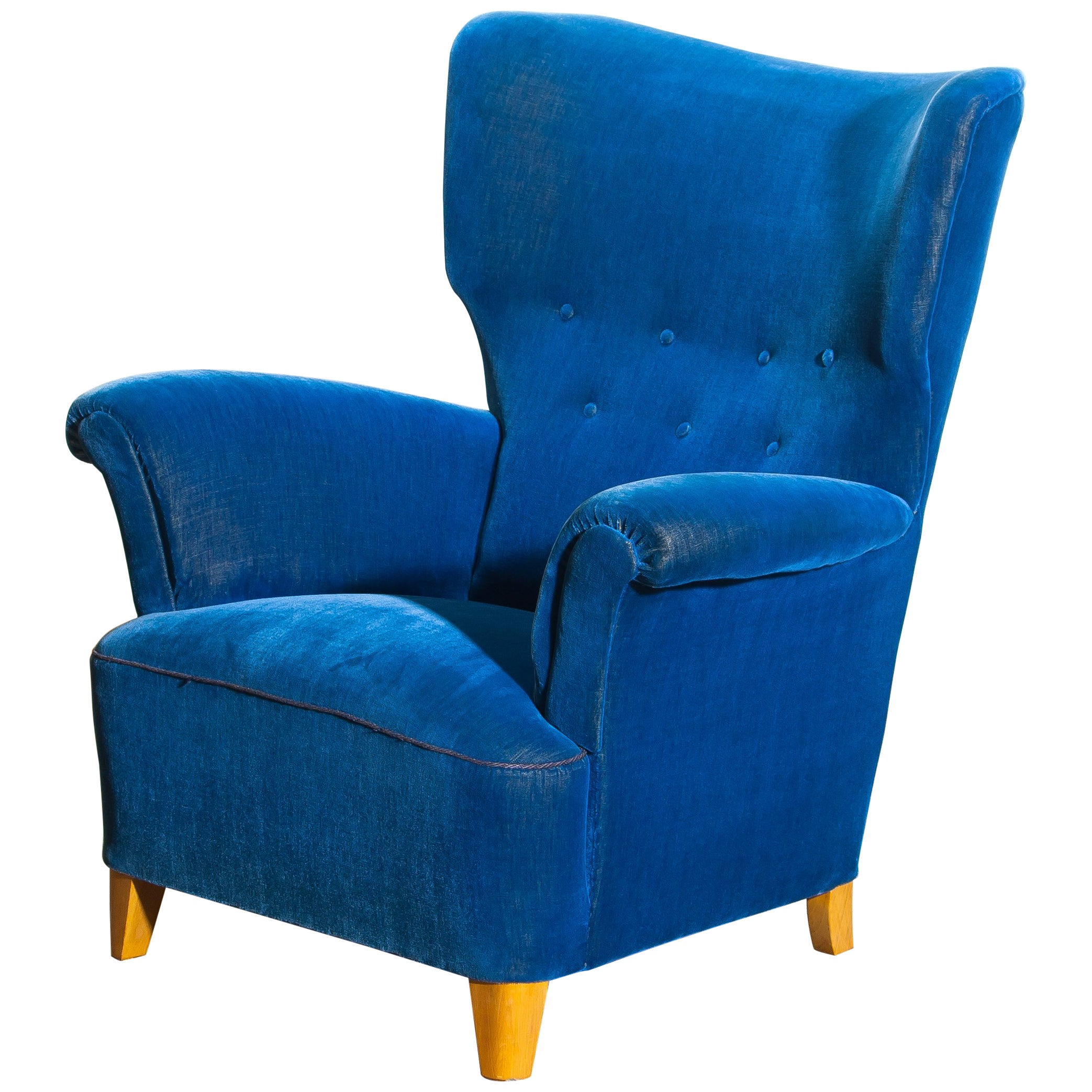 Royal Blue Chair Scandinavian Royal Blue Velvet Wingback Chair 1930 1940