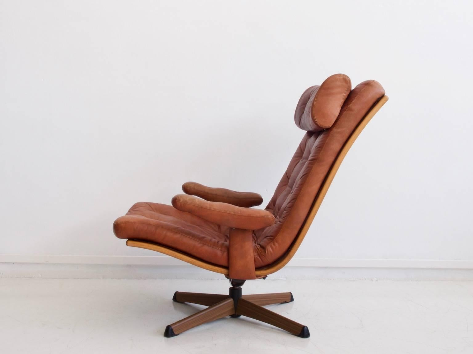 brown swivel chair outdoor webbing pair of leather chairs by gote mobler for sale at 1stdibs mid century modern