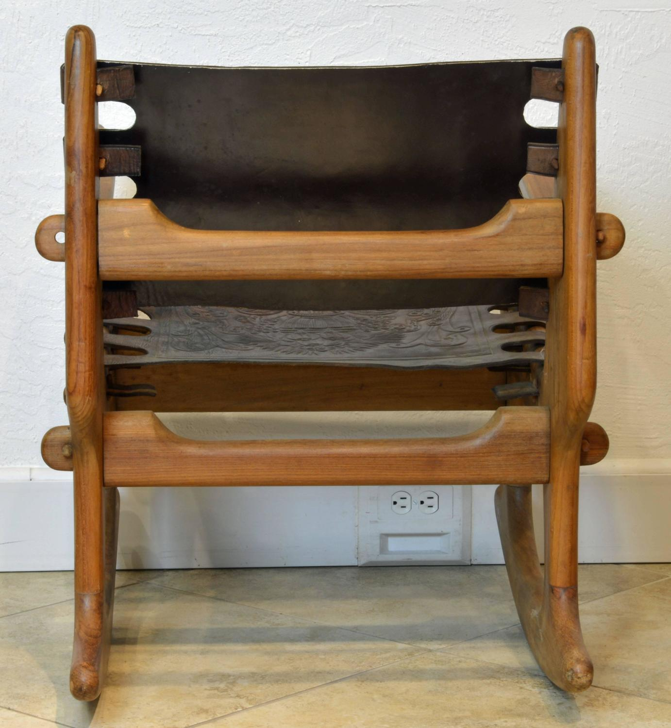 rocking chair leather and wood rush seat chairs repair mid century modern ecuadorian