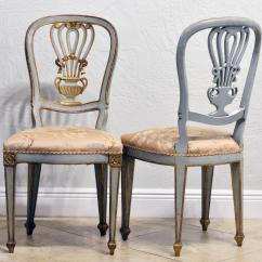 Grey Painted Chairs High Back Executive Office Chair Leather Lovely Pair Of Louis Xv Inspired Italian Gilt And Paint Salon In Good Condition