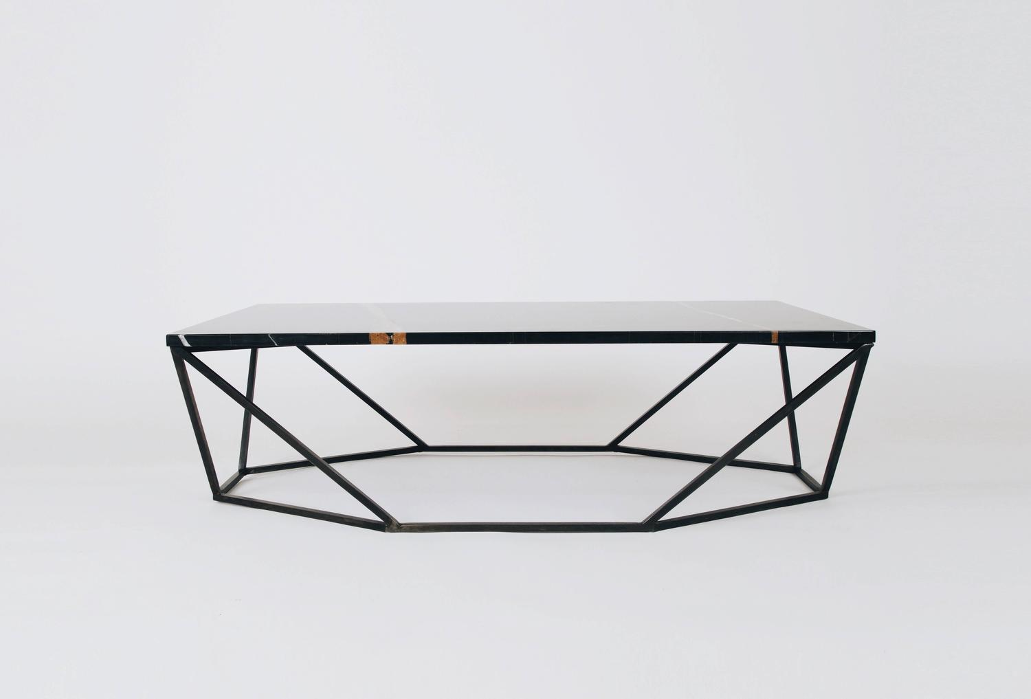 Dusk Coffee Table, Small in Polished Black Marble and