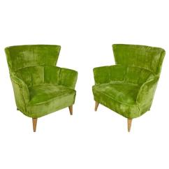 Lime Green Chairs For Sale Swivel Chair Mechanism Striking Pair Of Crushed Velvet Lounge At