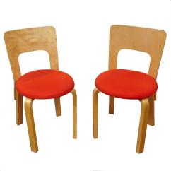 Orange Upholstered Chair Striped Club Pair Of Vintage Alvar Aalto Chairs With Vibrant Seats For Sale