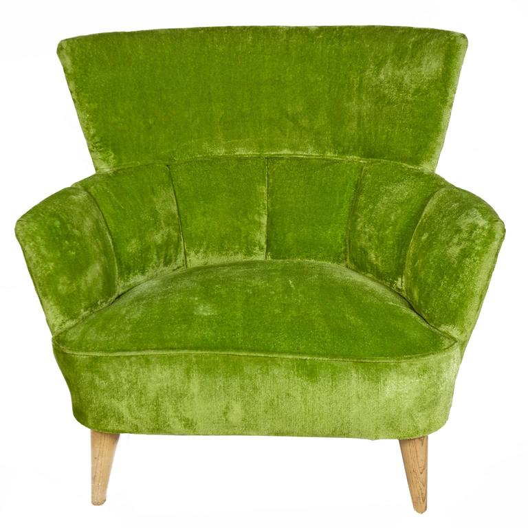 crushed velvet chair ikea covers for sale striking pair of lime green lounge chairs at beautiful vintage original fabric in great