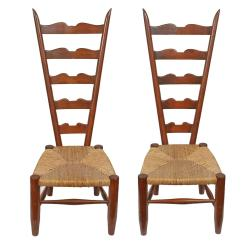 Antique Ladder Back Chairs With Rush Seats Chair For Makeup Vanity Pair Of Vintage Low Seat Sale At