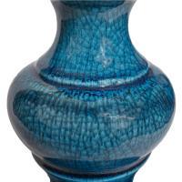 Stiffel, Blue Ceramic, Mid-Century Modern Table Lamp with ...