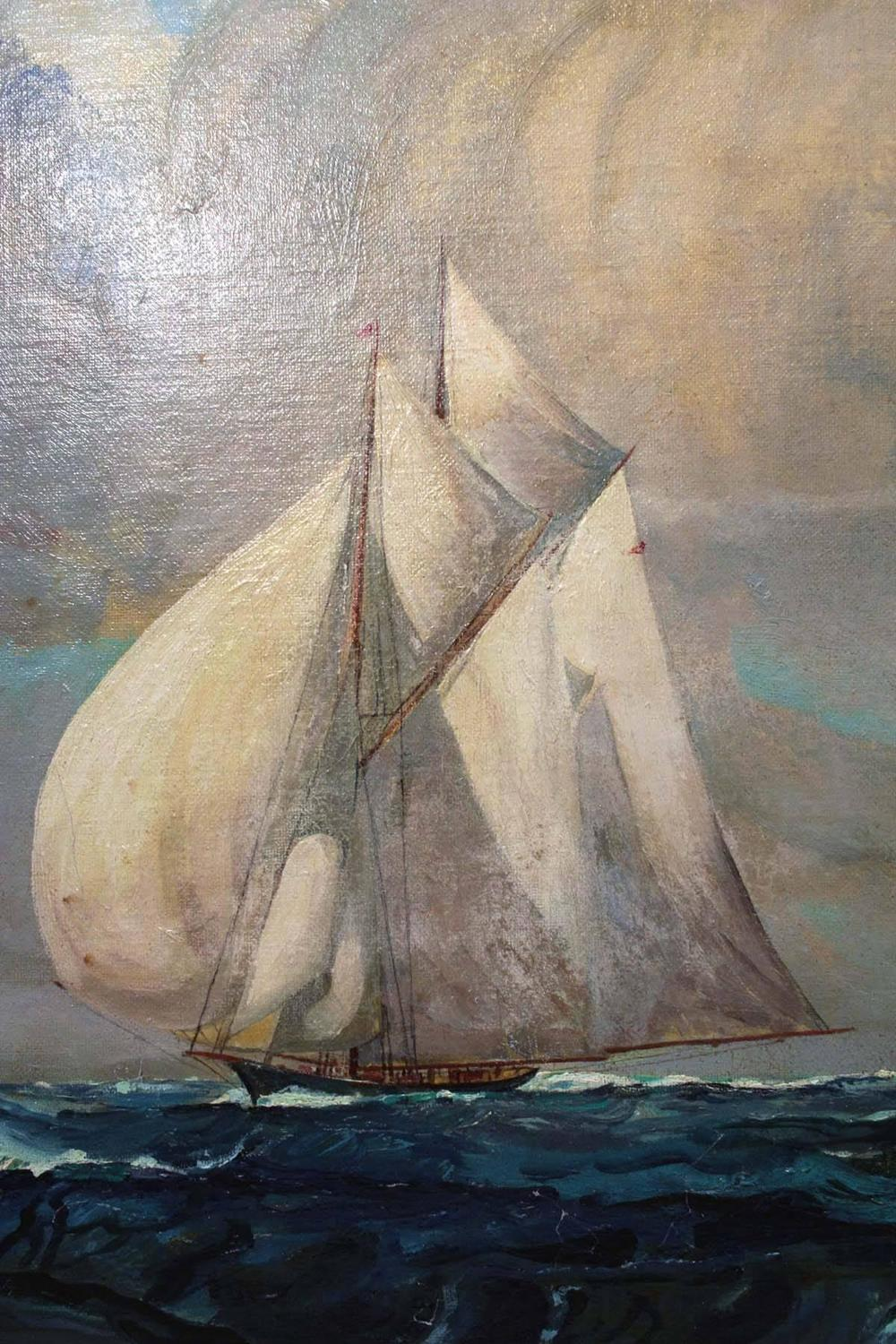 Sail Boat Oil Painting James A Mitchell For Sale At 1stdibs