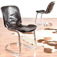Six Vintage Cidue Italian Chrome and Leather Chairs For