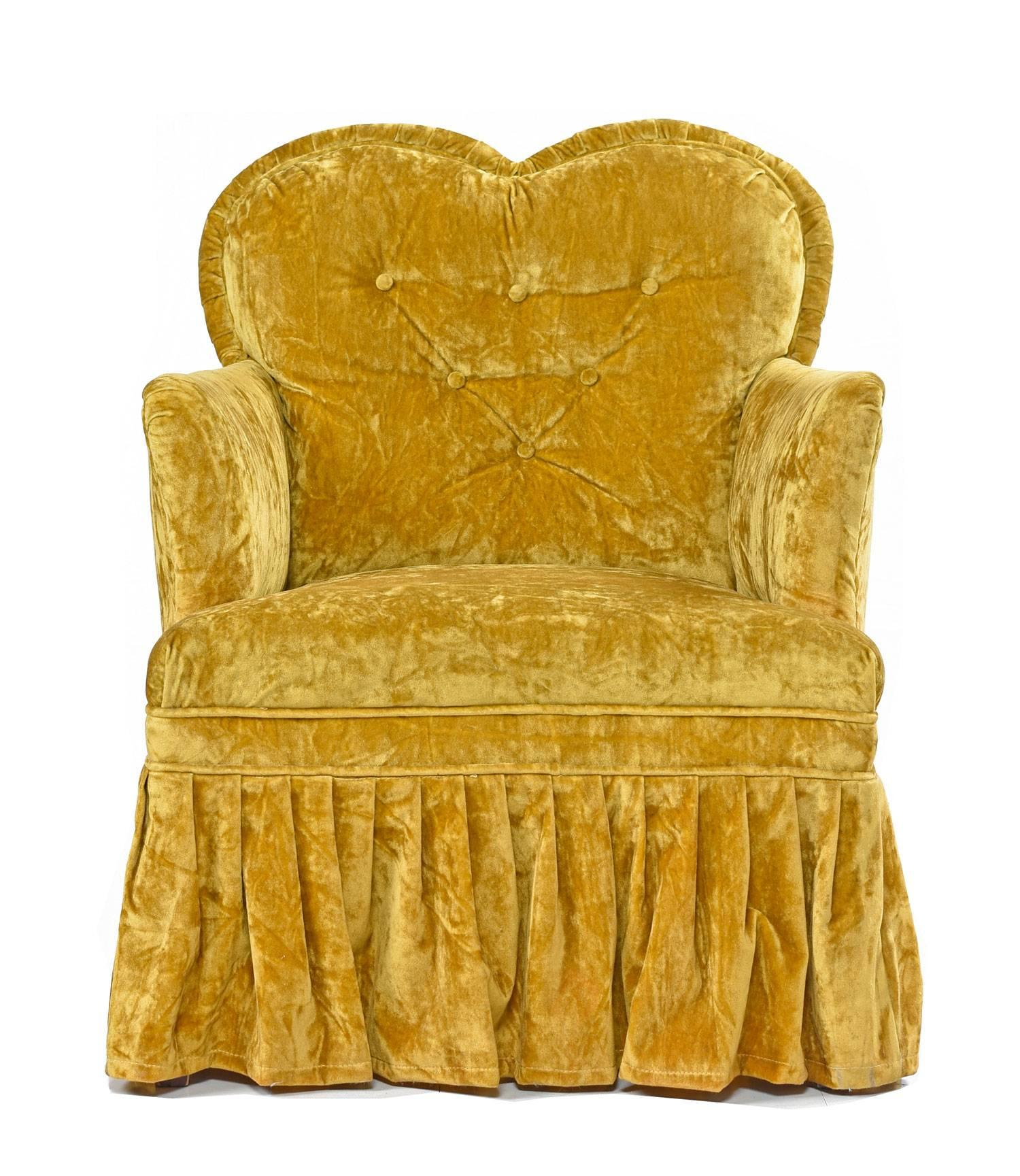 yellow bedroom chair eames amazon crushed velvet petit heart shaped hollywood regency chartreuse chairs for sale at 1stdibs