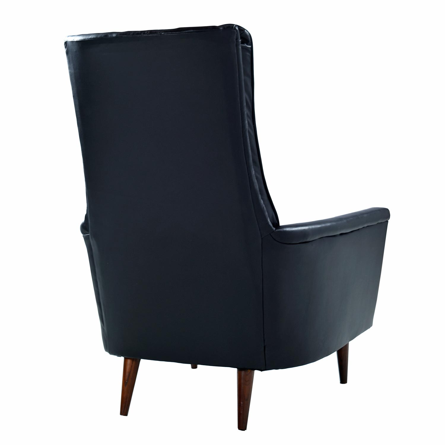 high back tufted chair orange computer restored adrian pearsall style black leather lounge at 1stdibs