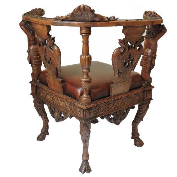 Italian Renaissance Revival Solid Oak Corner Chair