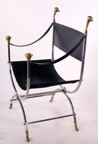 Maison Jansen Savonarola Steel and Brass Leather Chair at ...