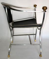 Pair of Italian Mid-Century Modern Leather and Chrome ...