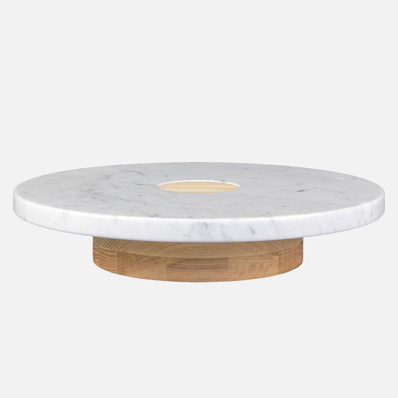 Set Of Three Sass Pedestals Wood And Carrara Marble