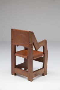 Italian Throne like Chair in Walnut and Leather For Sale ...