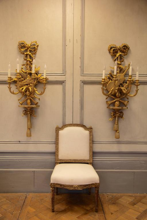 Large Louis XV Style Giltwood Wall Lights For Sale At 1stdibs