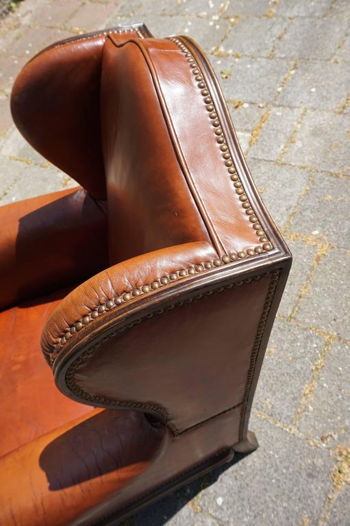tufted leather wingback chair cover rentals dallas texas antique chippendale style with hand-carved claw feet at 1stdibs