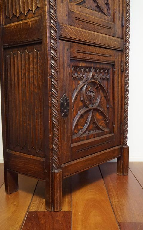 Gothic Revival Bookcase Carved Antique Cabinet With