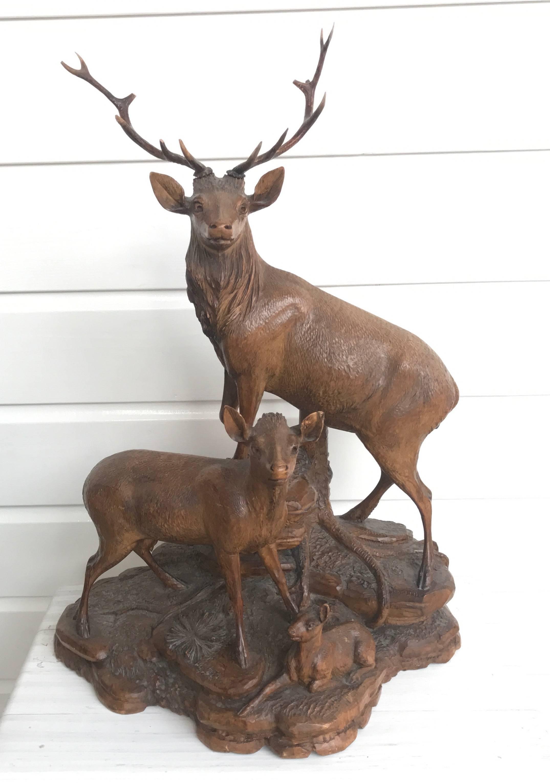 Antique And Large Hand Carved Black Forest Walnut Deer