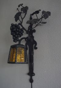 Arts and Crafts Wrought Iron Bunch of Grapes Wall Sconce ...