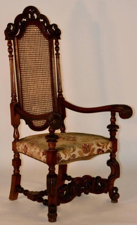 high backed chair bedroom swivel pair of spanish baroque back chairs for sale at 1stdibs woodwork