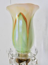 Steuben Pulled Feather Shades on Antique Brass Lamp with ...