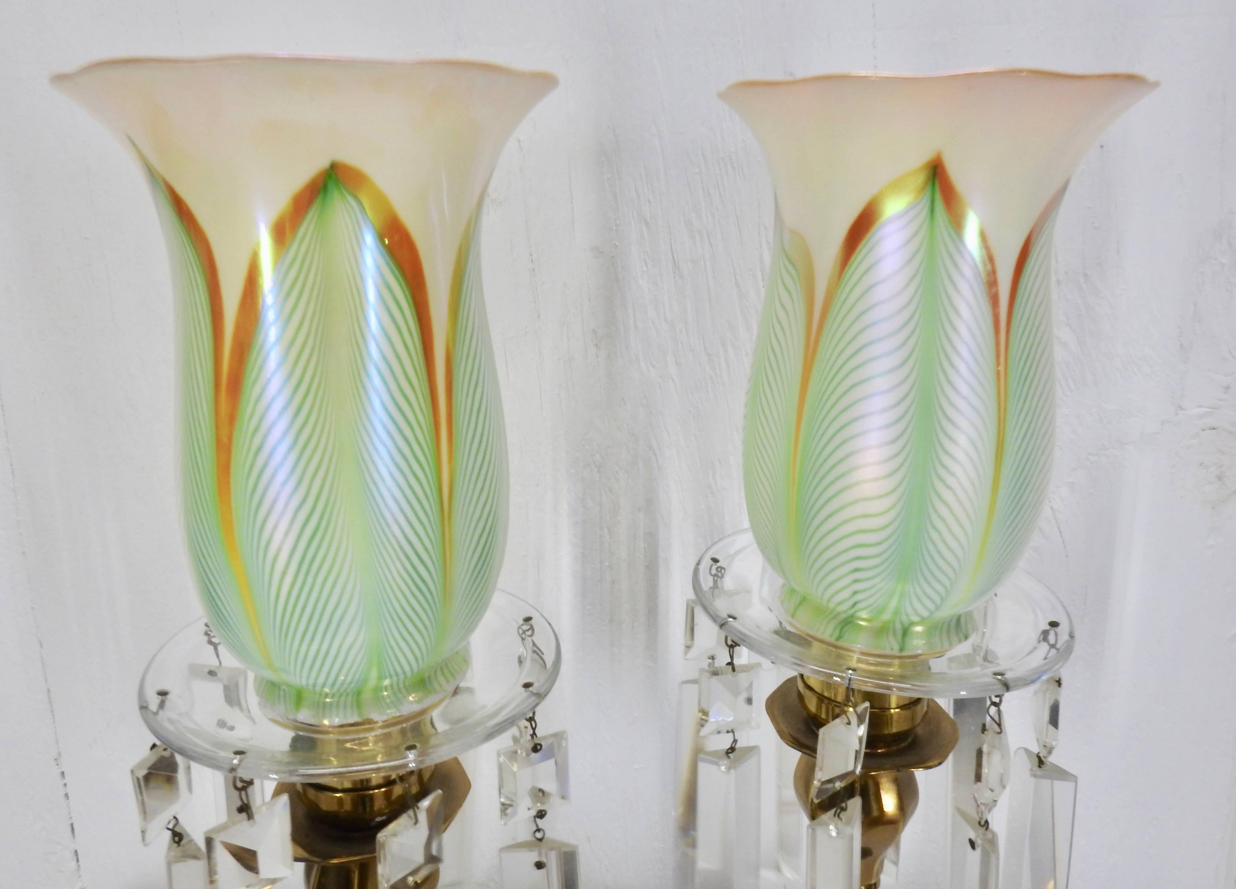 Steuben Pulled Feather Shades on Antique Brass Lamp with