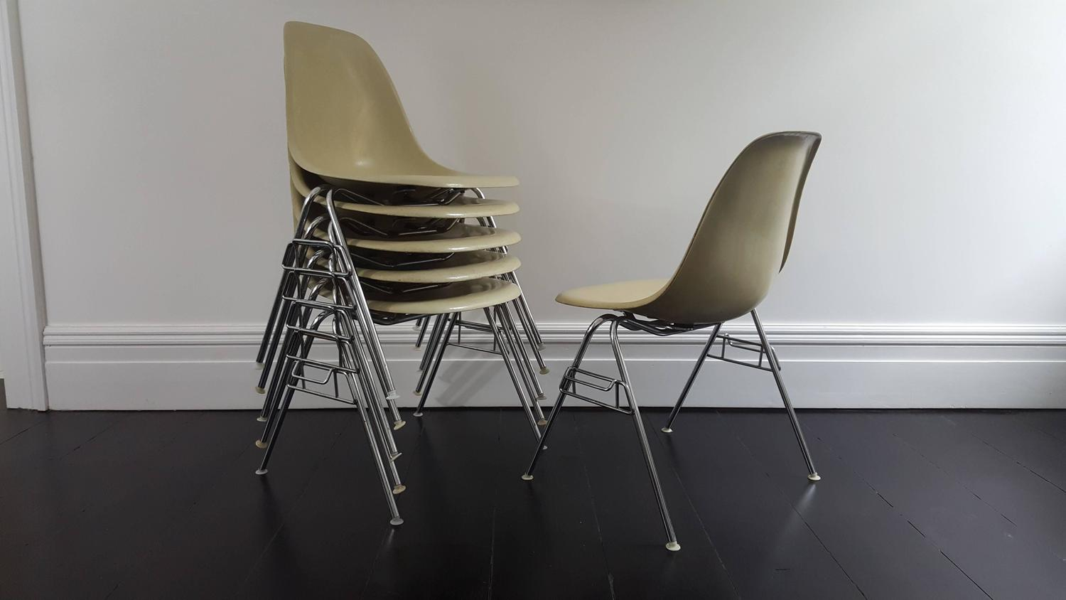 herman miller stacking chairs chair cover rentals brandon mb original vintage charles and ray eames dss