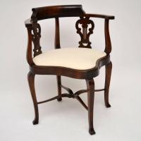 Antique Edwardian Mahogany Corner Armchair at 1stdibs