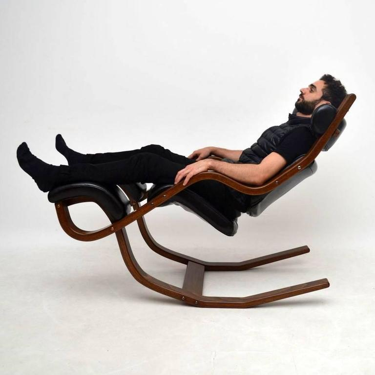 stokke gravity balans chair lightweight folding leather and bentwood armchair by peter opsvik for at 1stdibs