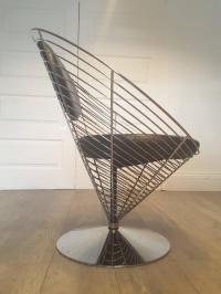 Mid-Century Modern Leather Wire Cone Swivel Chair by ...