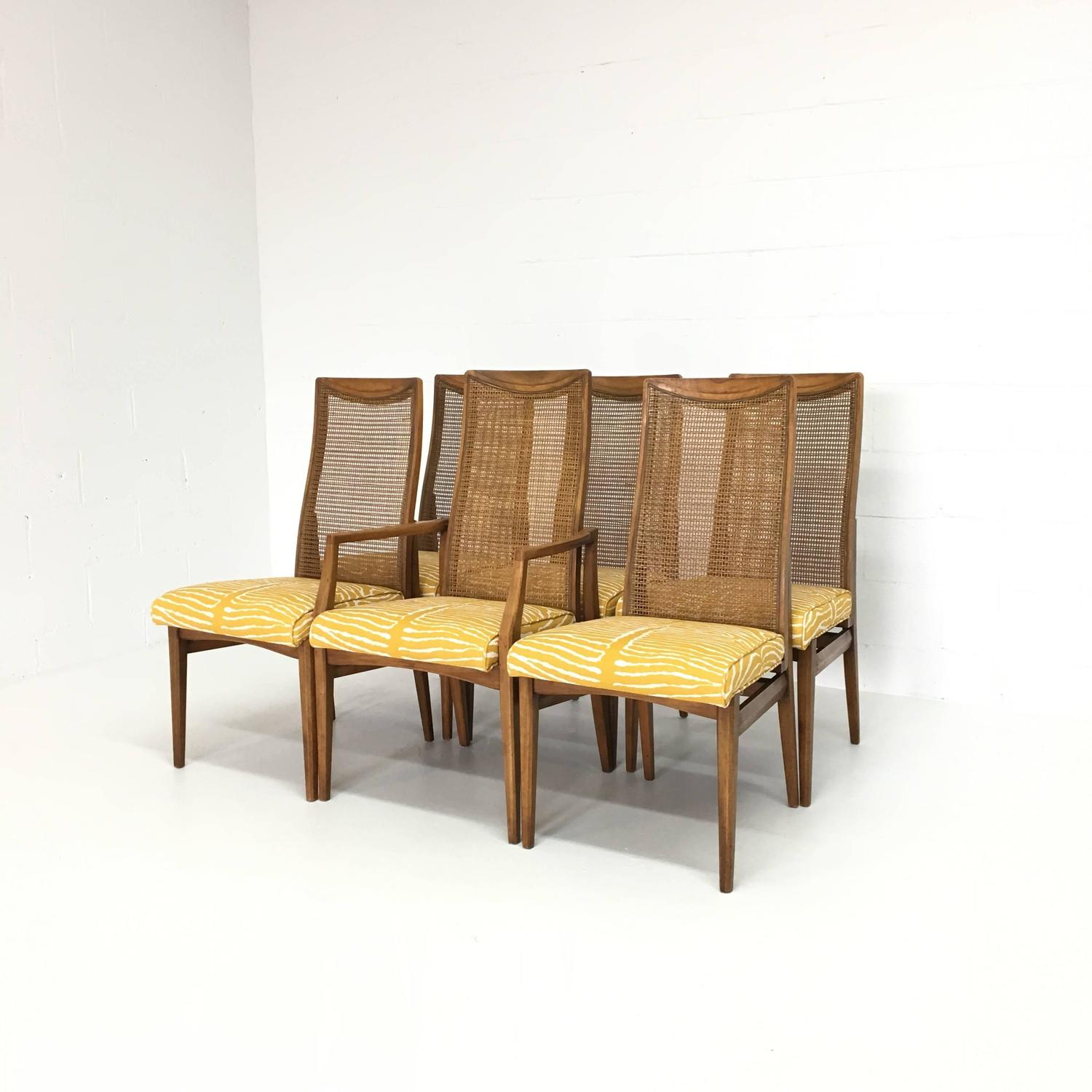 zebra dining chairs lazy boy computer chair set of six mid century modern caned