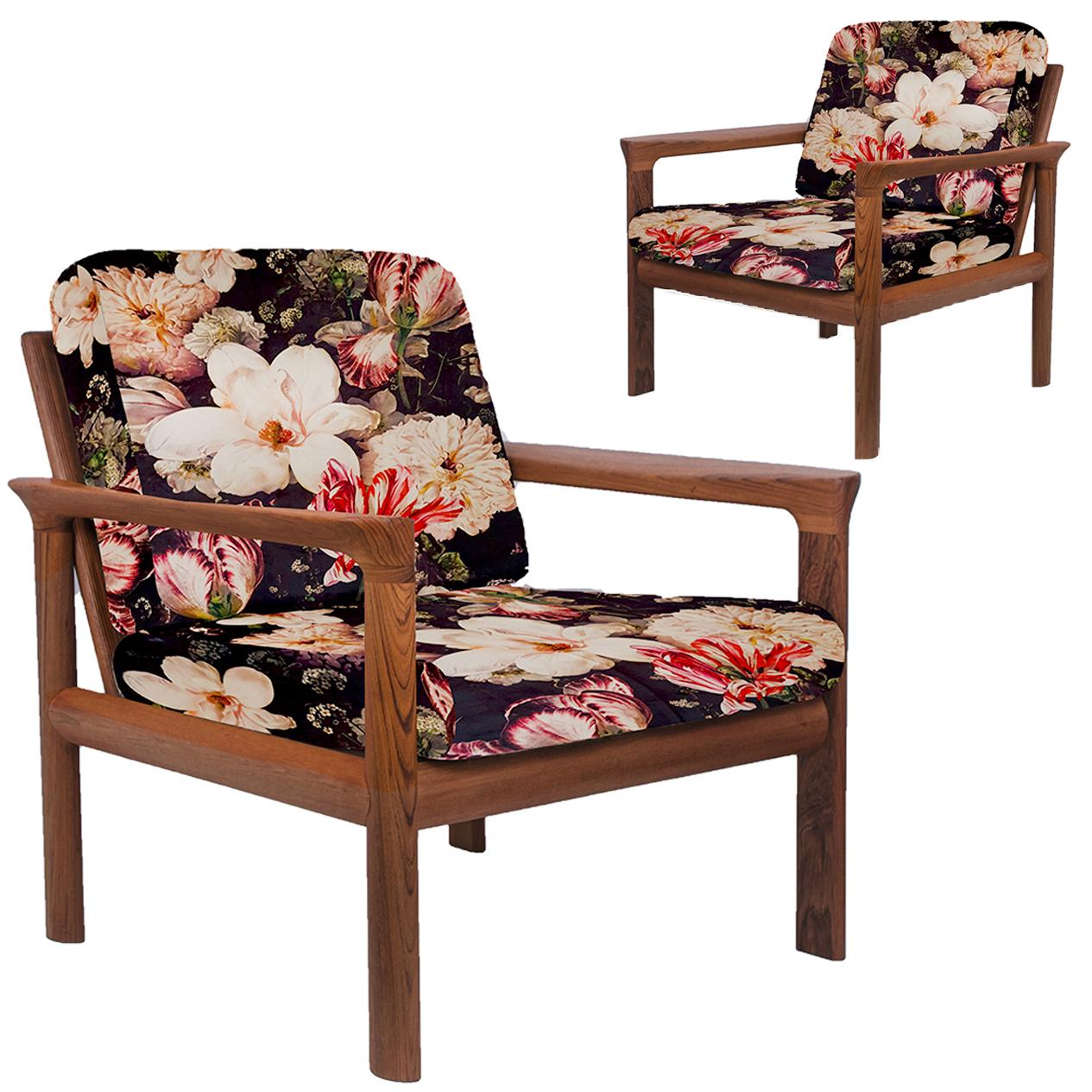 floral upholstered chair glider rocking baby bunting pair of new velvet sculptural easy chairs by sven ellekaer for sale