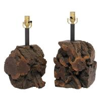 Mid-Century Burl Wood Table Lamps, Pair at 1stdibs