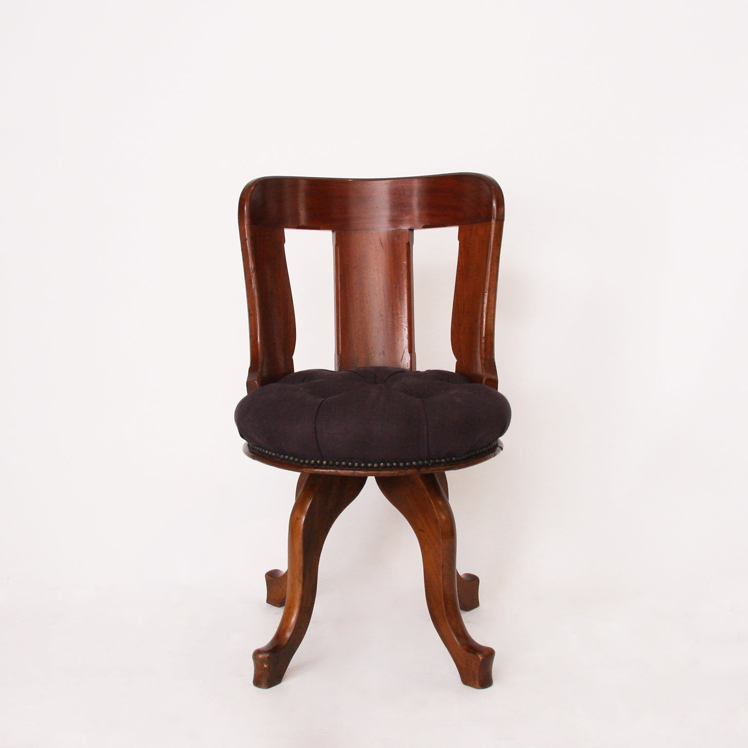 Linen Office Chair English 19th Century Mahogany Swivel Desk Chair With Upholstered Linen Seat