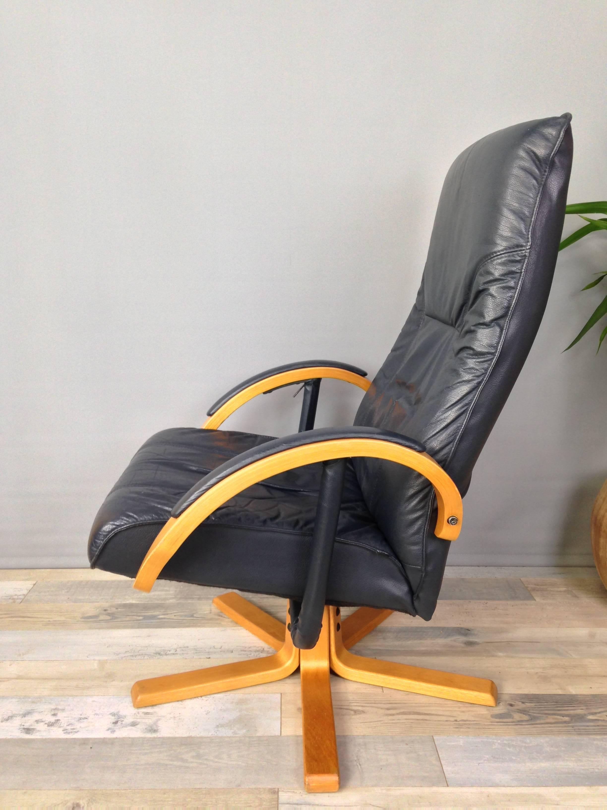 leather swivel recliner chair and ottoman go anywhere harness danish design wooden armchair with for sale at 1stdibs