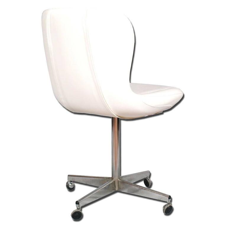 revolving easy chair ikea jules chromed steel white leather charles e ray mid century modern