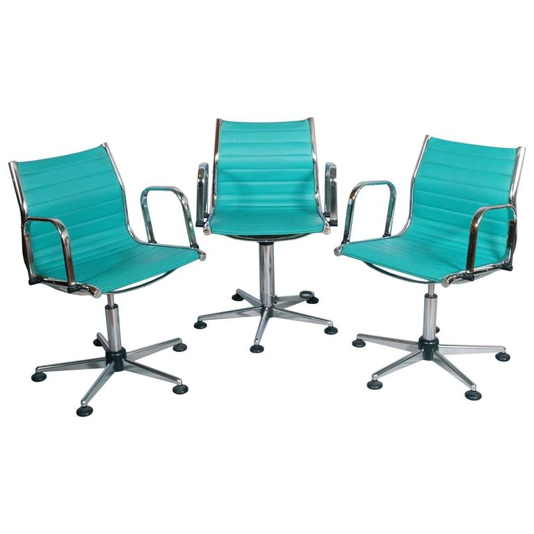 herman miller rolling office chair ethan allen covers 1970s set desk chairs, chromed steel, leatherette upholstered, adjustable height for sale at 1stdibs