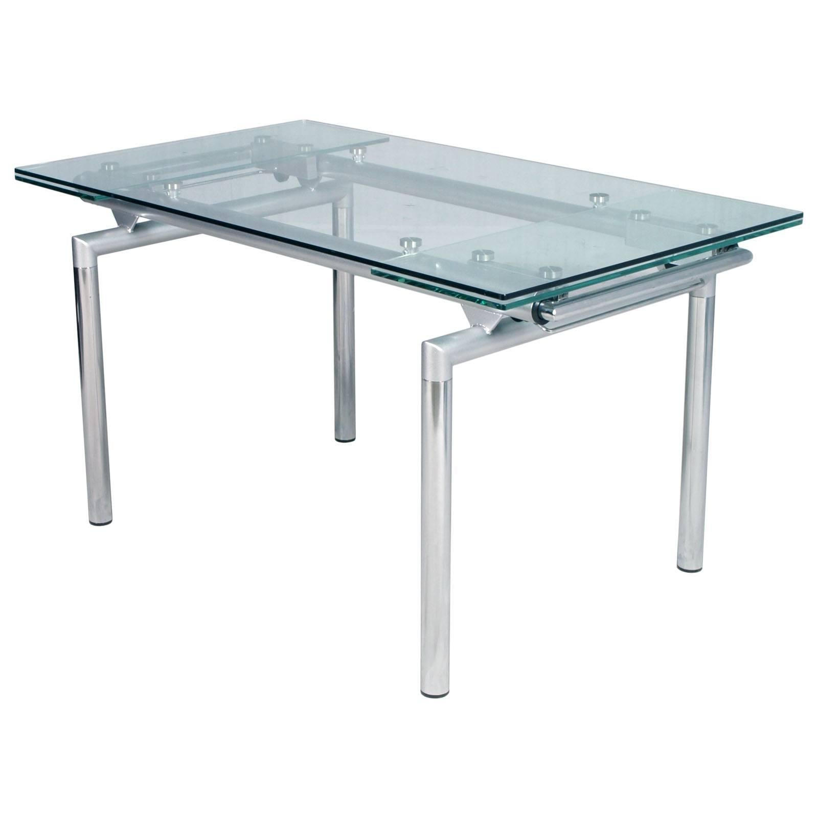 Tavolo Le Corbusier Italian 1960s Chromed And Crystal Extensible Tecno Table Le Corbusier Style
