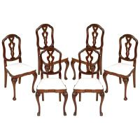 19th Century Venetian Six Baroque Chairs in Carved Walnut