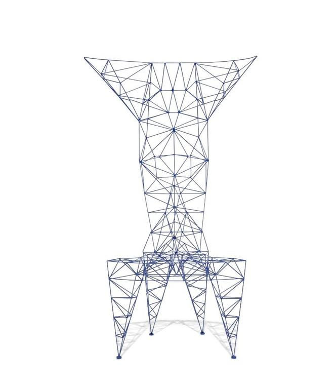 Pylon Chair by Tom Dixon in Royal Blue Metal Lattice For
