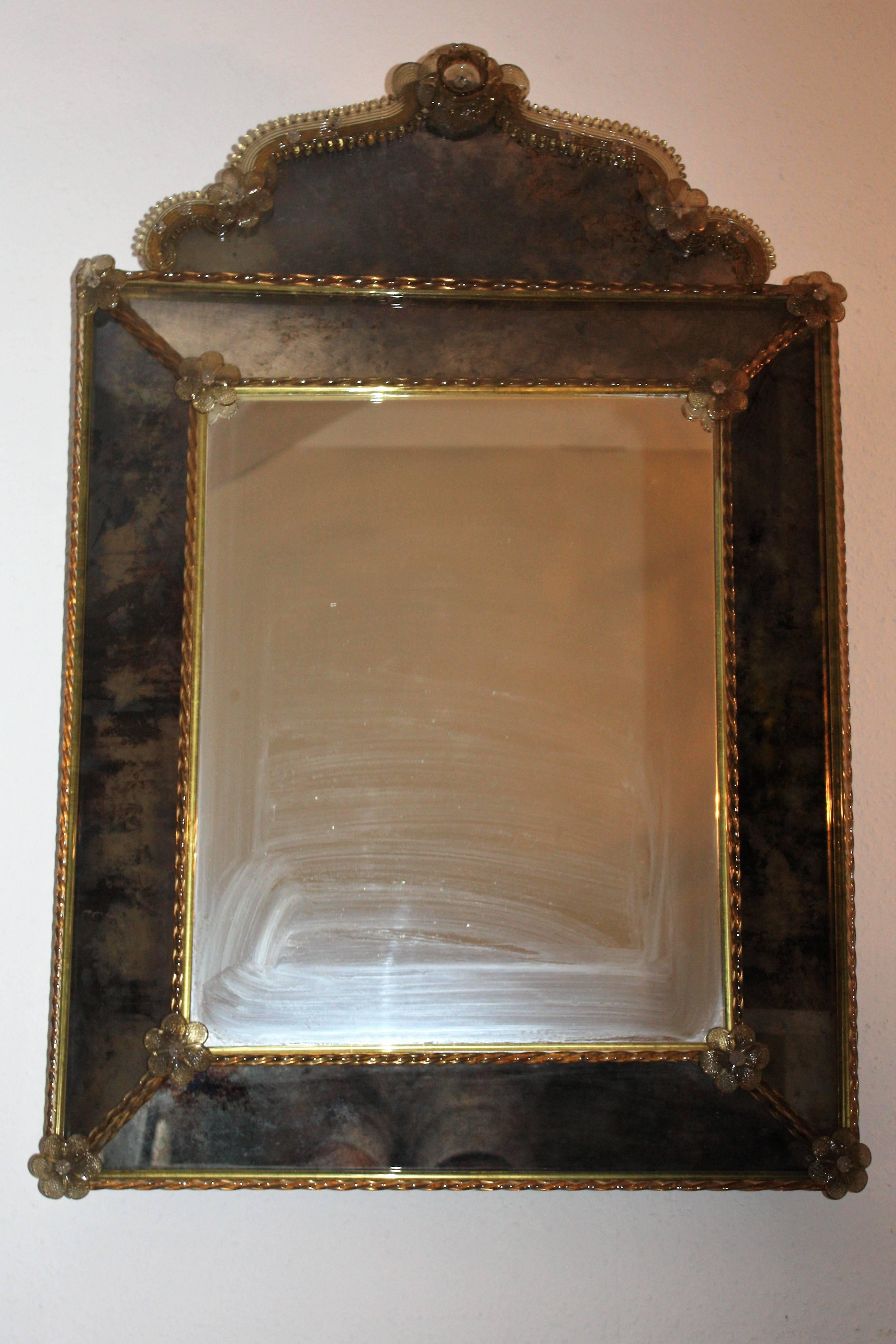 Venetian Mirror Murano Glass Italy Circa 1940s For Sale