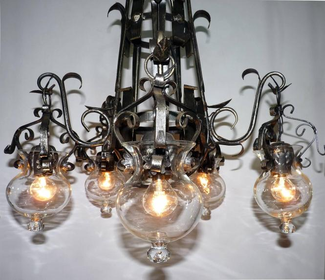 Unusual French Forged Iron And Tole Cage Form Chandelier With Five Hanging Light Glass Globes