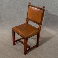 Antique Oak and Leather Set Four Dining Kitchen Chairs ...