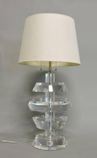 Karl Springer Mid-Century Modern Stacked Lucite Table Lamp ...