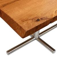 Solid Live-Edge Oak Dining Table with Vintage Mid-Century ...