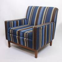 Spectacular Pair of Mid-Century Modern Blue Striped Lounge ...