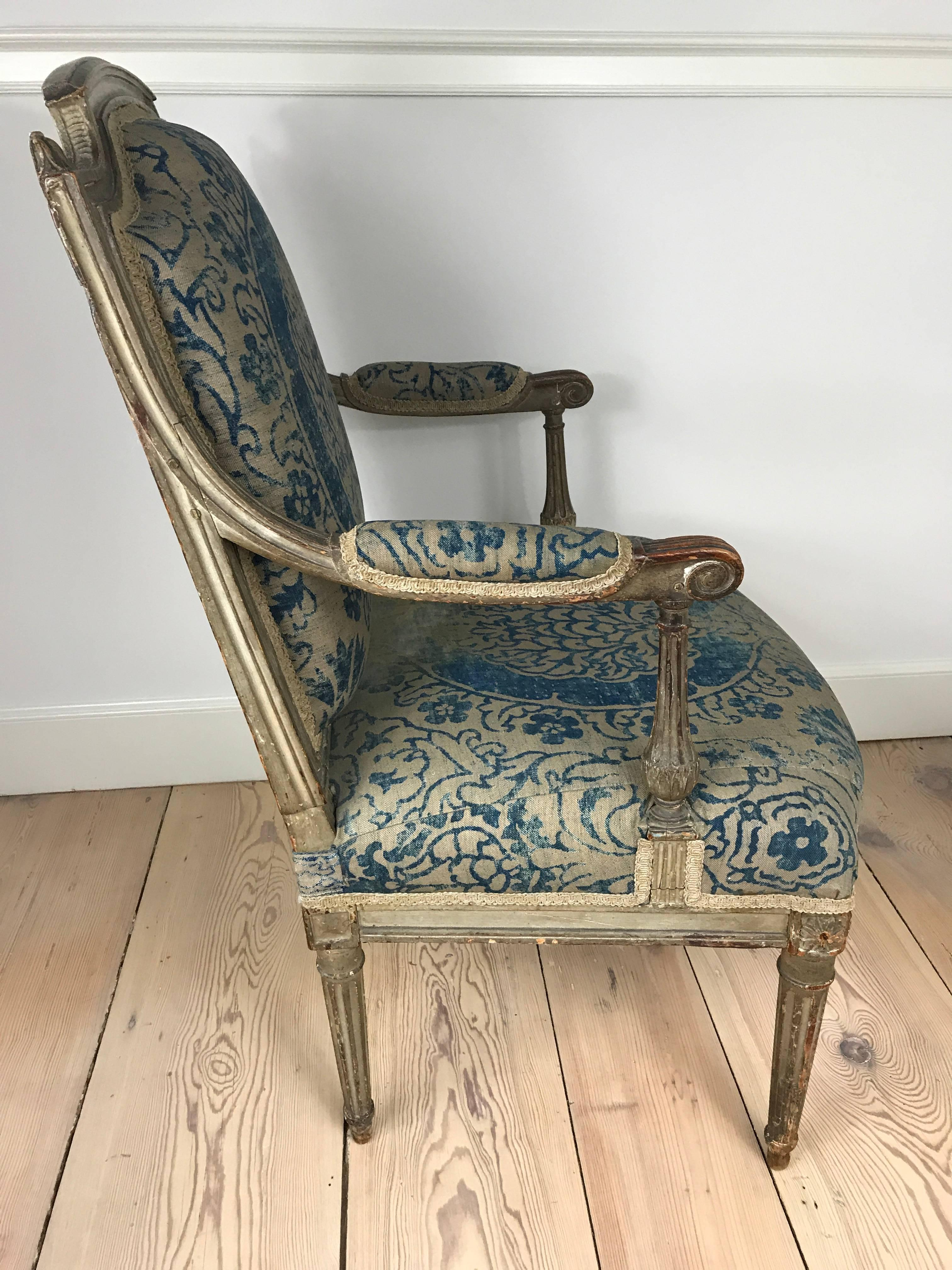 18th Century Louis XVI Fauteuil Upholstered In Fortuny