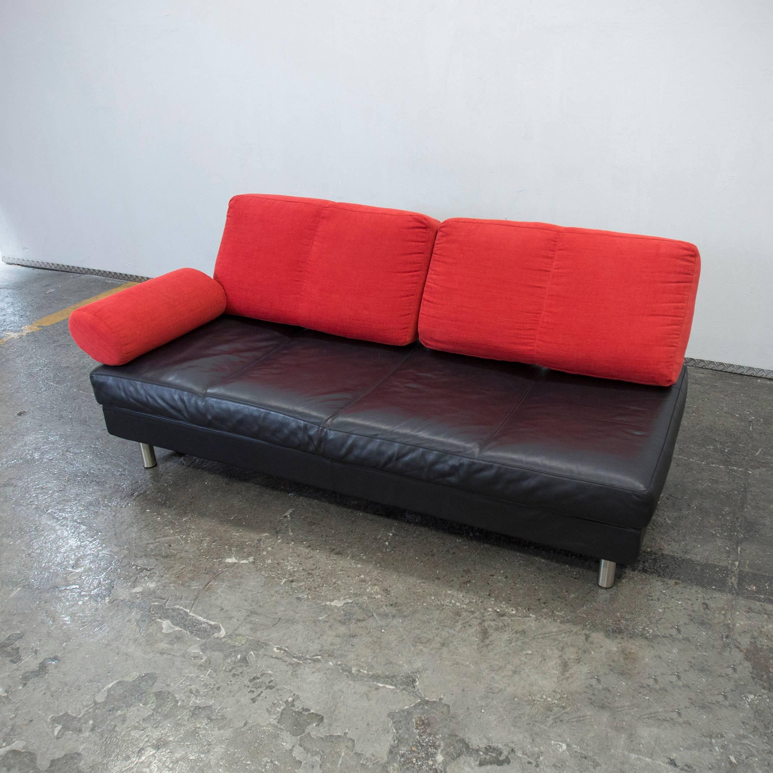 black and red leather sofa striped fabric zanotta brevetatto designer three seat italian modern for sale